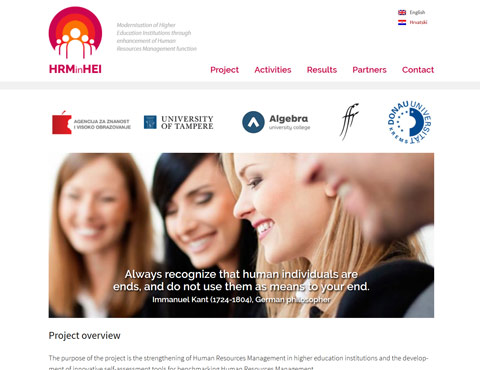 The website of the Human Resources Management in Higher Education Institutions project.