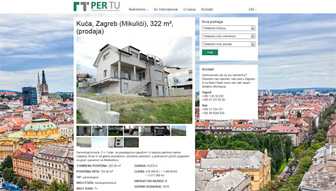 Per Tu real estate agency for Zagreb and Adriatic coast.
