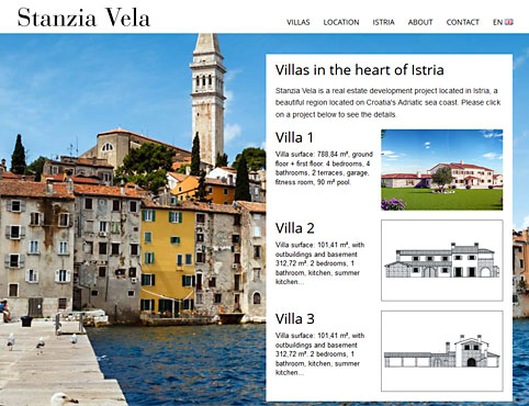 Stanzia Vela website, a development luxury project in Istria