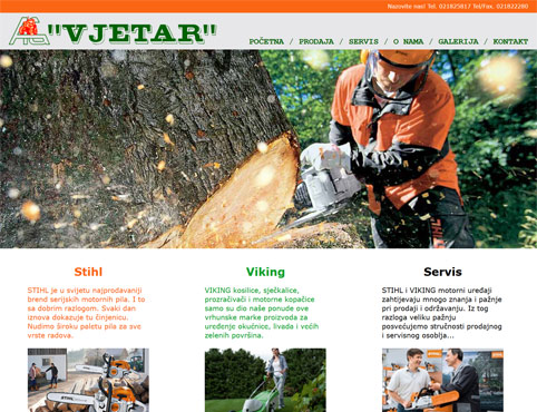 Vjetar sells and repairs agricultural machinery.